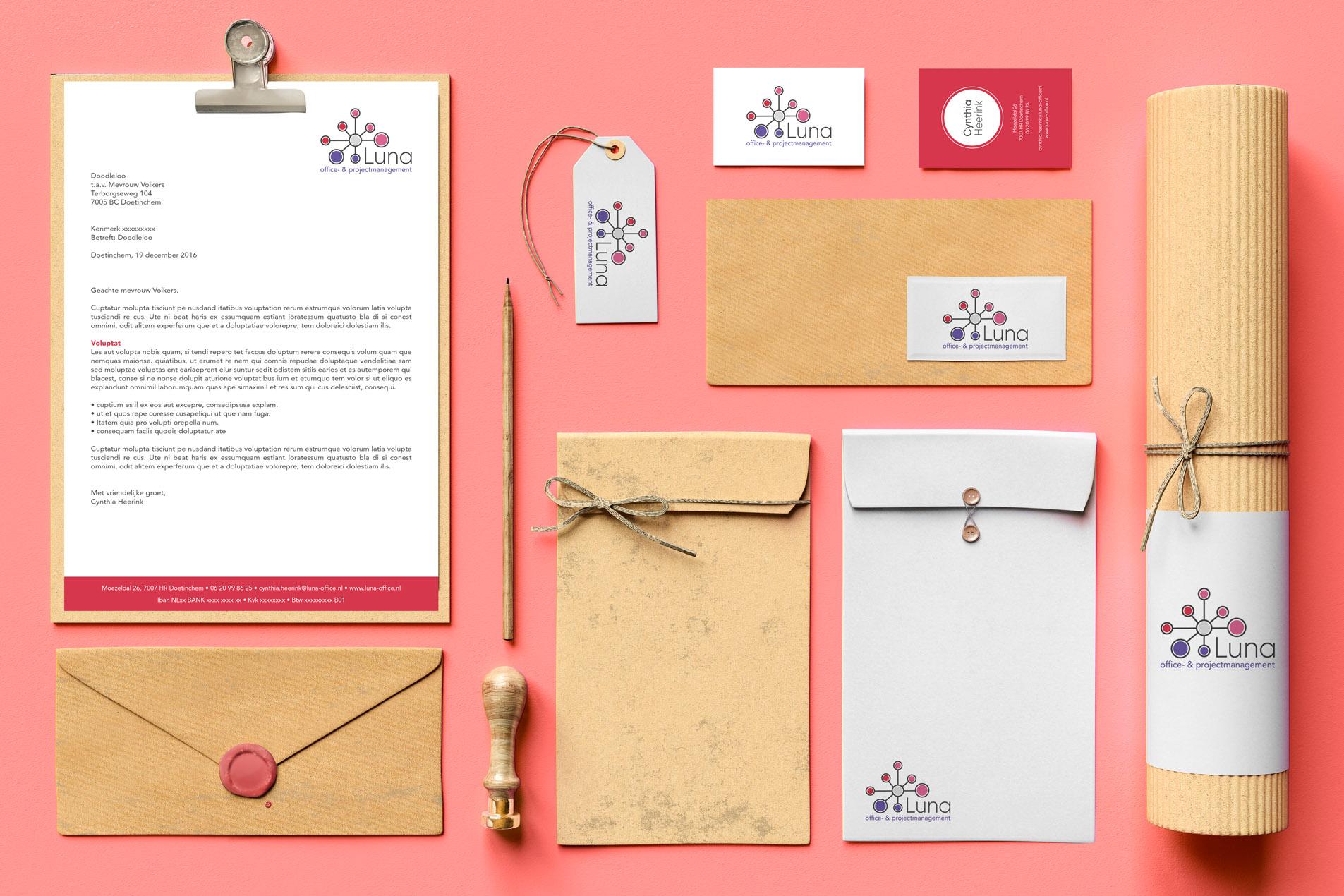Luna Projectmanagement logo en huisstijl